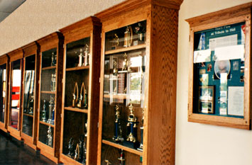 Trophy Cases Purchased with Memorial Funds