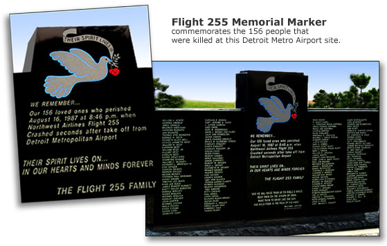 Memorial Marker at Detroit Metro Airport Crash Site
